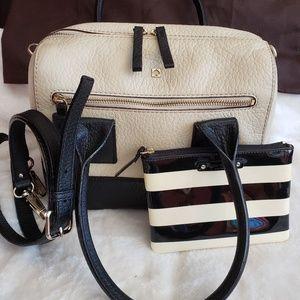 Kate Spade ♠️ Leather cream and black handbag with